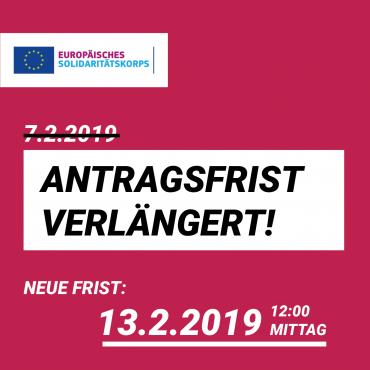 Achtung: Erste Antragsfrist auf 13. Februar 2019 verschoben